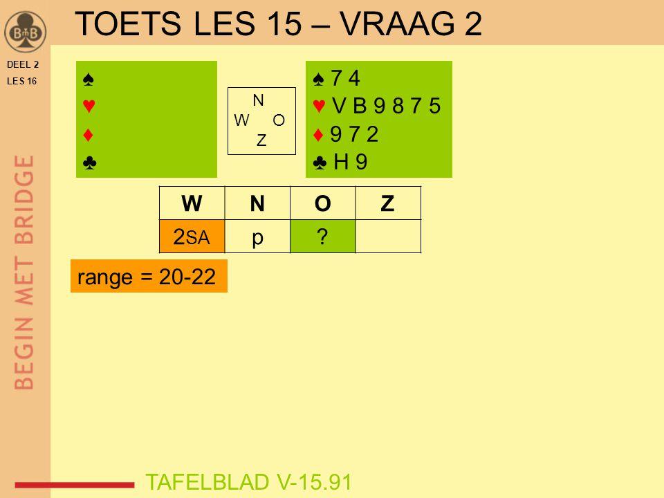 DEEL 2 LES 16 N W O Z WNOZ 2 SA p? ♠♥♦♣♠♥♦♣ TAFELBLAD V-15.91 ♠ 7 4 ♥ V B 9 8 7 5 ♦ 9 7 2 ♣ H 9 range = 20-22 TOETS LES 15 – VRAAG 2