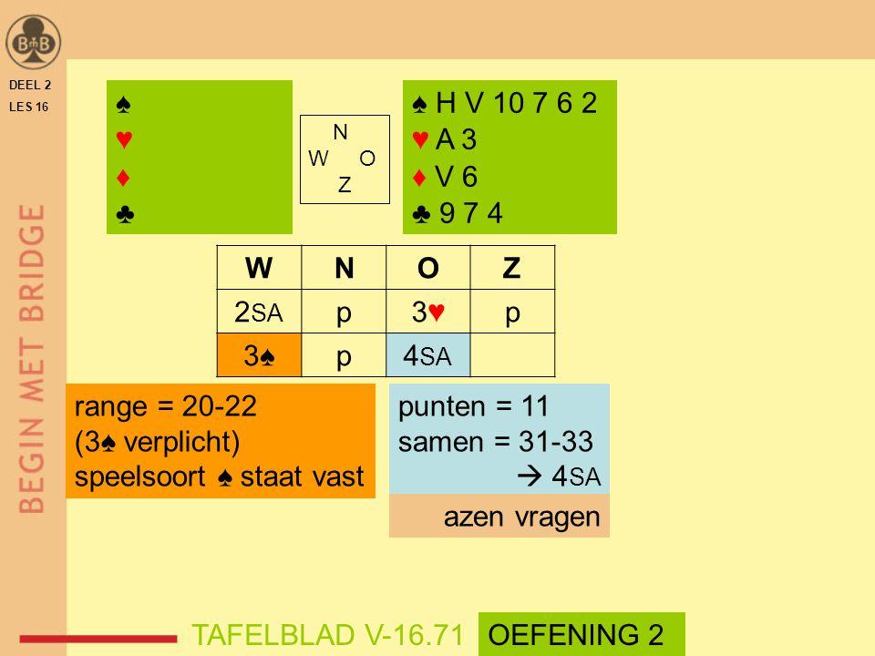 WNOZ 2 SA p3♥3♥p 3♠p4 SA DEEL 2 LES 16 N W O Z ♠♥♦♣♠♥♦♣ ♠ H V 10 7 6 2 ♥ A 3 ♦ V 6 ♣ 9 7 4 punten = 11 samen = 31-33  4 SA azen vragen TAFELBLAD V-16