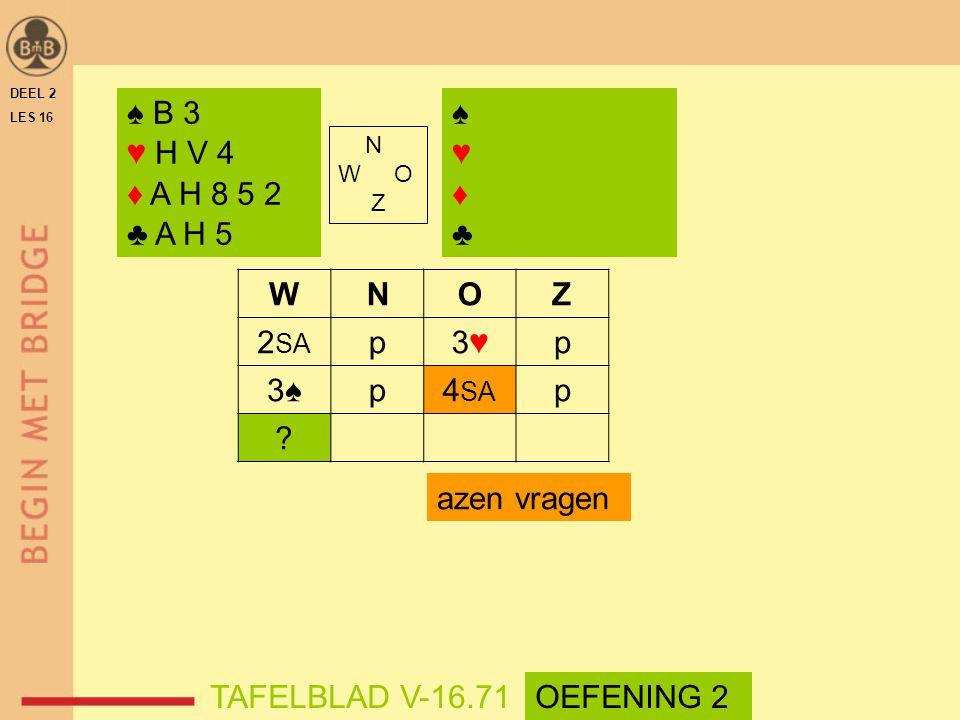 WNOZ 2 SA p3♥3♥p 3♠p4 SA p ? azen vragen DEEL 2 LES 16 N W O Z ♠ B 3 ♥ H V 4 ♦ A H 8 5 2 ♣ A H 5 ♠♥♦♣♠♥♦♣ TAFELBLAD V-16.71OEFENING 2