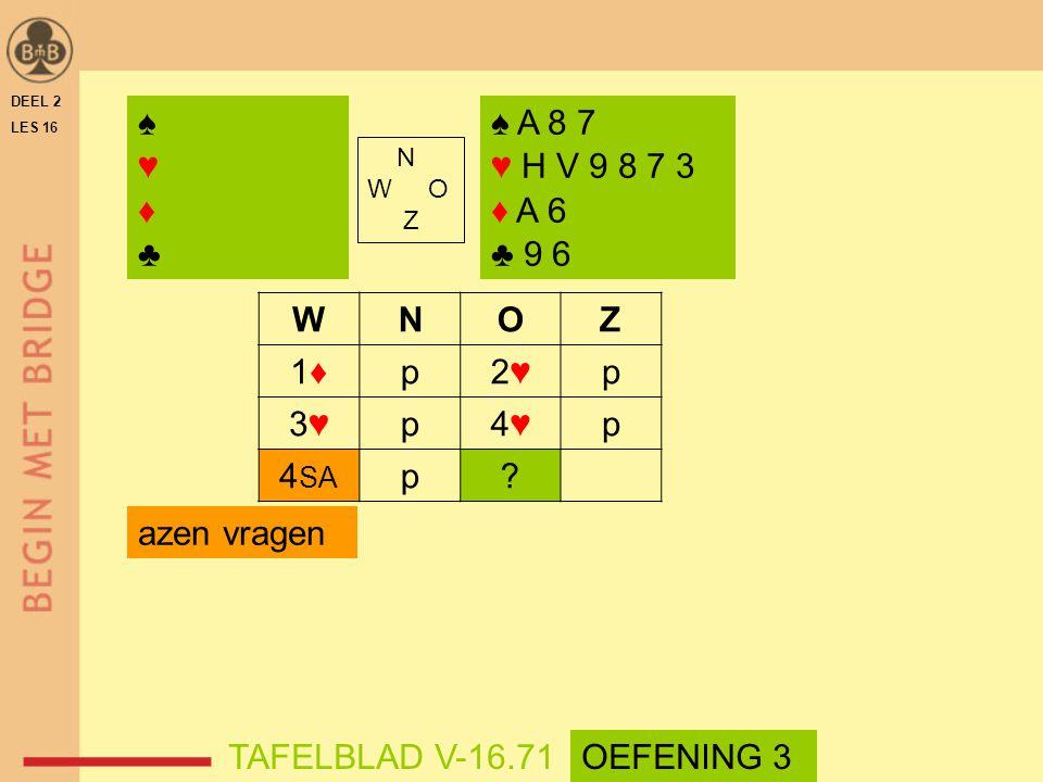WNOZ 1♦1♦p2♥2♥p 3♥3♥p4♥4♥p 4 SA p? azen vragen DEEL 2 LES 16 N W O Z ♠♥♦♣♠♥♦♣ ♠ A 8 7 ♥ H V 9 8 7 3 ♦ A 6 ♣ 9 6 TAFELBLAD V-16.71OEFENING 3