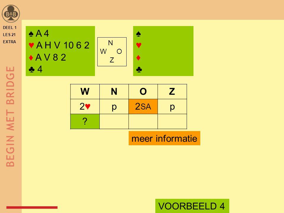 ♠ A 4 ♥ A H V 10 6 2 ♦ A V 8 2 ♣ 4 N W O Z WNOZ 2♥2♥p2 SA p .