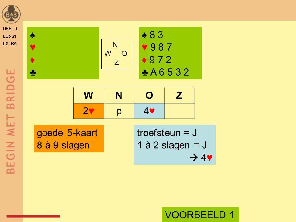 ♠ 8 3 ♥ 9 8 7 ♦ 9 7 2 ♣ A 6 5 3 2 N W O Z WNOZ 2♥2♥p4♥4♥ troefsteun = J 1 à 2 slagen = J  4♥ goede 5-kaart 8 à 9 slagen VOORBEELD 1 ♠♥♦♣♠♥♦♣ DEEL 1 LES 21 EXTRA