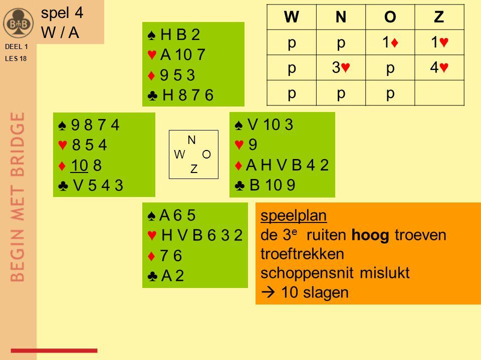 ♠ A 5 4 ♥ V B 9 6 ♦ H 4 3 ♣ B 10 8 ♠ H V 10 8 7 ♥ A 10 3 ♦ 9 5 2 ♣ 5 4 N W O Z ♠ 9 3 2 ♥ 8 5 2 ♦ 10 7 6 ♣ A H 6 2 ♠ B 6 ♥ H 7 4 ♦ A V B 8 ♣ V 9 7 3 NZ kunnen 3♣ maken spel 5 N / NZ WNOZ -1♣1♣1♠1♠2♣2♣ 2♠2♠p/3♣pp p/3♠ speelplan in 3♠ troeftrekken snijden in harten (♥V)  9 slagen zuid start met ♣A DEEL 1 LES 18