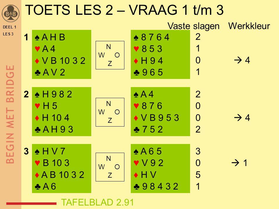 TOETS LES 2 – VRAAG 1 t/m 3 DEEL 1 LES 3 ♠ A H B ♥ A 4 ♦ V B 10 3 2 ♣ A V 2 ♠ H 9 8 2 ♥ H 5 ♦ H 10 4 ♣ A H 9 3 ♠ H V 7 ♥ B 10 3 ♦ A B 10 3 2 ♣ A 6 ♠ 8