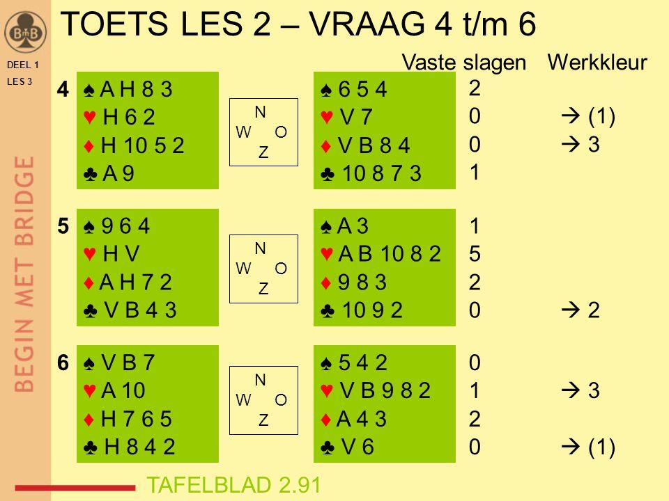 TOETS LES 2 – VRAAG 4 t/m 6 DEEL 1 LES 3 ♠ A H 8 3 ♥ H 6 2 ♦ H 10 5 2 ♣ A 9 ♠ 9 6 4 ♥ H V ♦ A H 7 2 ♣ V B 4 3 ♠ V B 7 ♥ A 10 ♦ H 7 6 5 ♣ H 8 4 2 ♠ 6 5