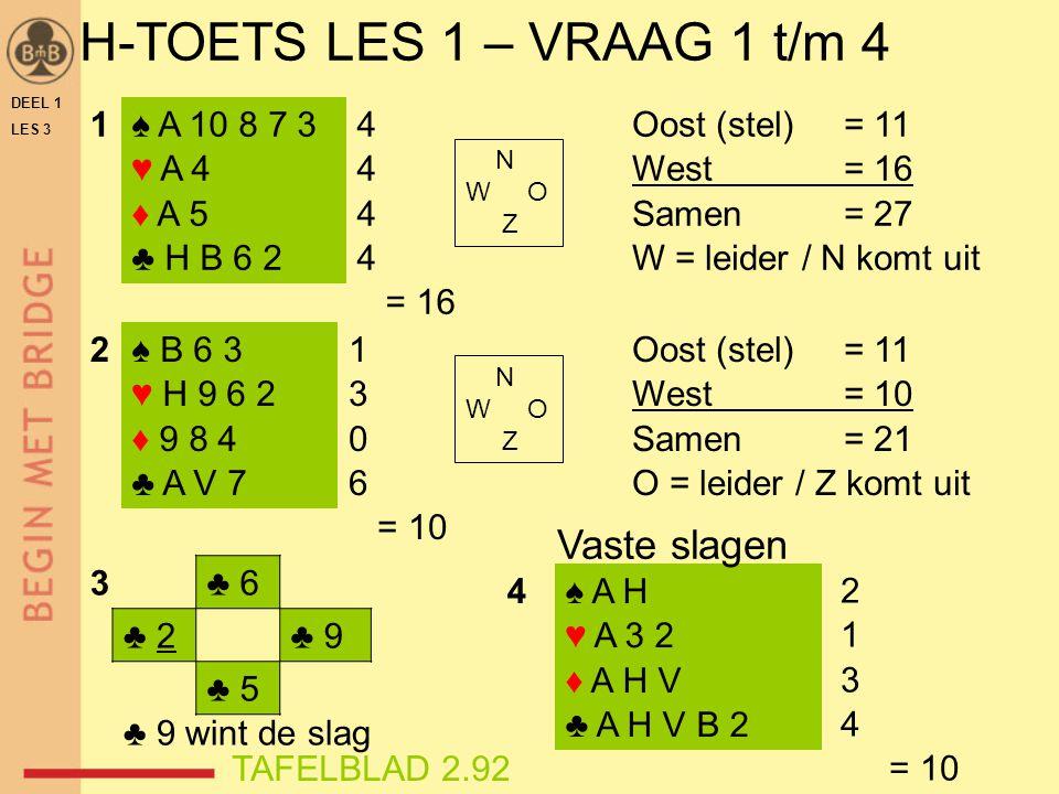 DEEL 1 LES 3 H-TOETS LES 1 – VRAAG 1 t/m 4 ♠ A 10 8 7 3 ♥ A 4 ♦ A 5 ♣ H B 6 2 ♠ B 6 3 ♥ H 9 6 2 ♦ 9 8 4 ♣ A V 7 4 = 16 1 3 0 6 = 10 Oost (stel)= 11 We