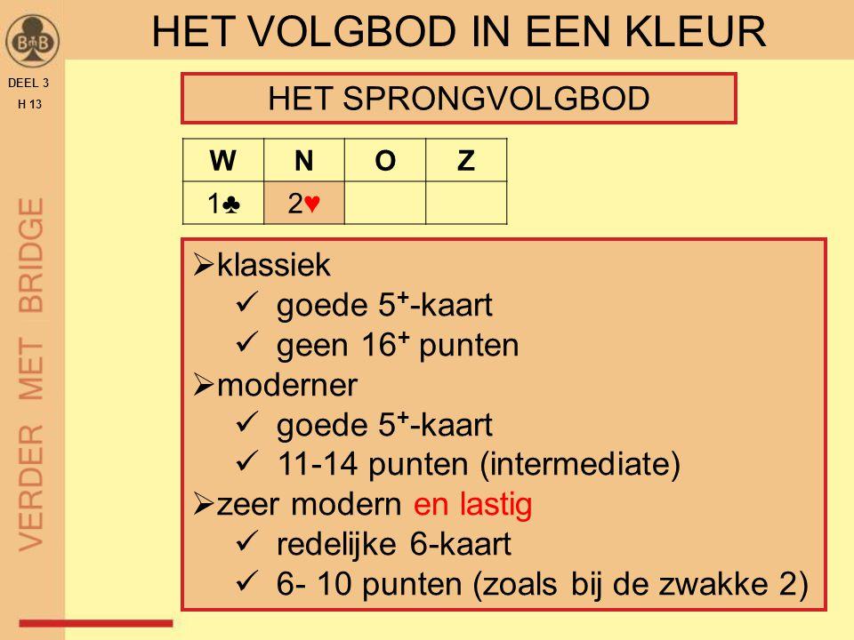 DEEL 3 H 13 HET VOLGBOD IN EEN KLEUR  klassiek goede 5 + -kaart geen 16 + punten  moderner goede 5 + -kaart 11-14 punten (intermediate)  zeer moder
