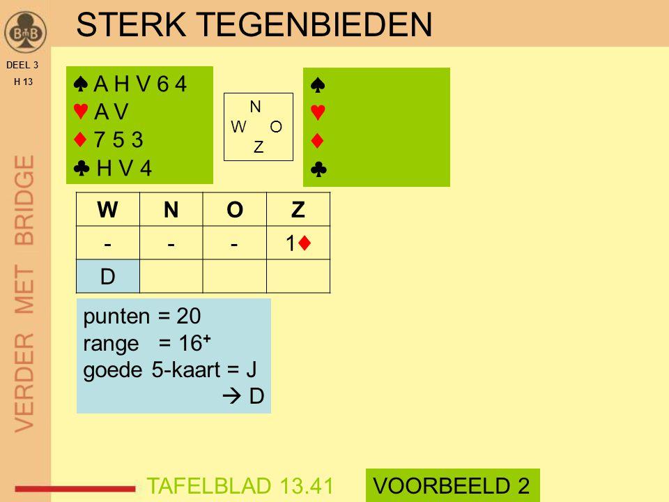 STERK TEGENBIEDEN DEEL 3 H 13 ♠ A H V 6 4 ♥ A V ♦ 7 5 3 ♣ H V 4 N W O Z WNOZ ---1♦1♦ D TAFELBLAD 13.41VOORBEELD 2 punten = 20 range = 16 + goede 5-kaa