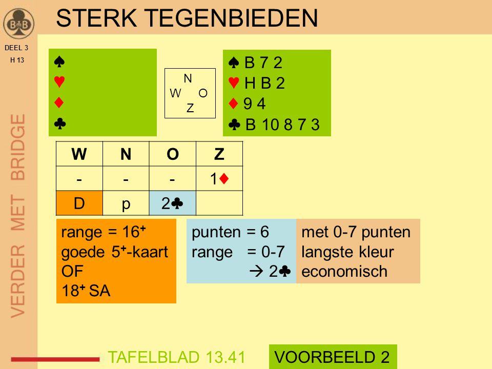 STERK TEGENBIEDEN DEEL 3 H 13 N W O Z WNOZ ---1♦1♦ Dp2♣2♣ met 0-7 punten langste kleur economisch TAFELBLAD 13.41VOORBEELD 2 ♠ B 7 2 ♥ H B 2 ♦ 9 4 ♣ B