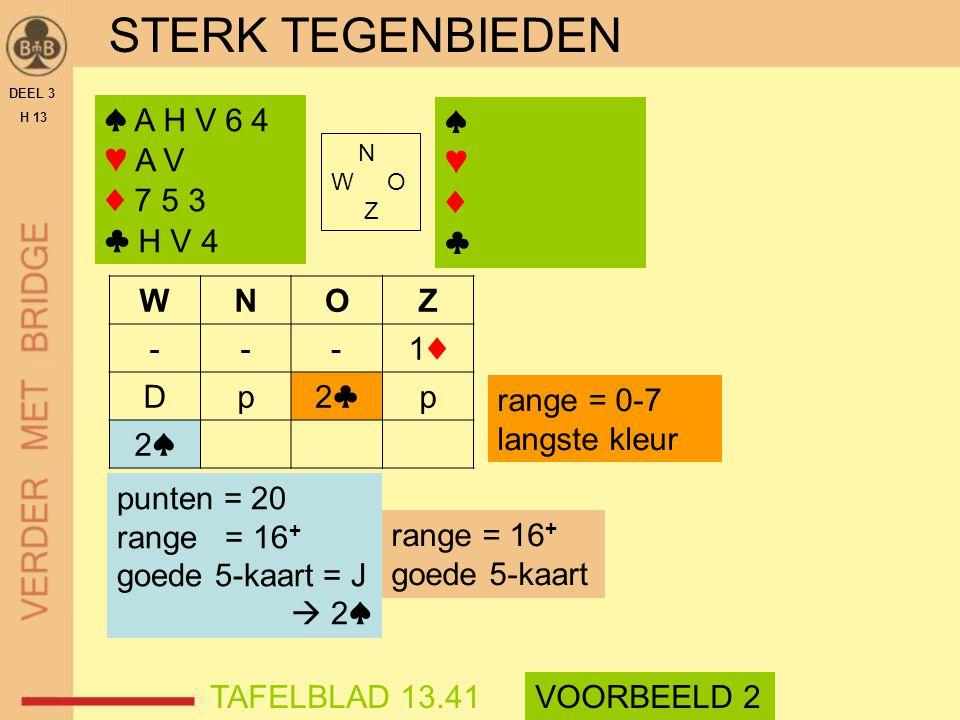 STERK TEGENBIEDEN DEEL 3 H 13 N W O Z WNOZ ---1♦1♦ Dp2♣2♣p 2♠2♠ range = 16 + goede 5-kaart TAFELBLAD 13.41VOORBEELD 2 range = 0-7 langste kleur punten