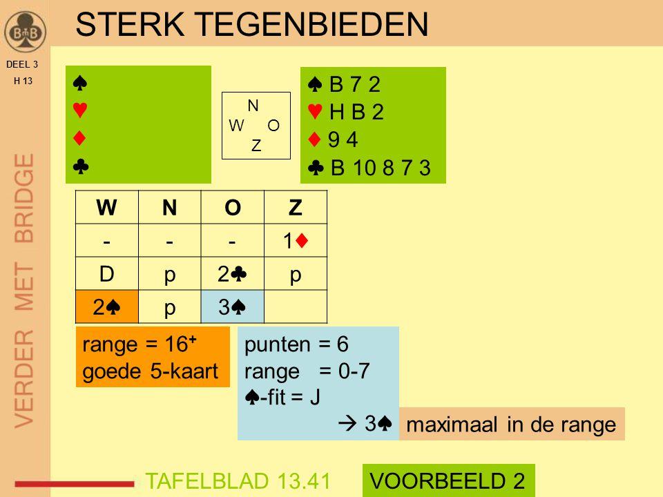 STERK TEGENBIEDEN DEEL 3 H 13 N W O Z WNOZ ---1♦1♦ Dp2♣2♣p 2♠2♠p3♠3♠ range = 16 + goede 5-kaart TAFELBLAD 13.41VOORBEELD 2 ♠ B 7 2 ♥ H B 2 ♦ 9 4 ♣ B 1
