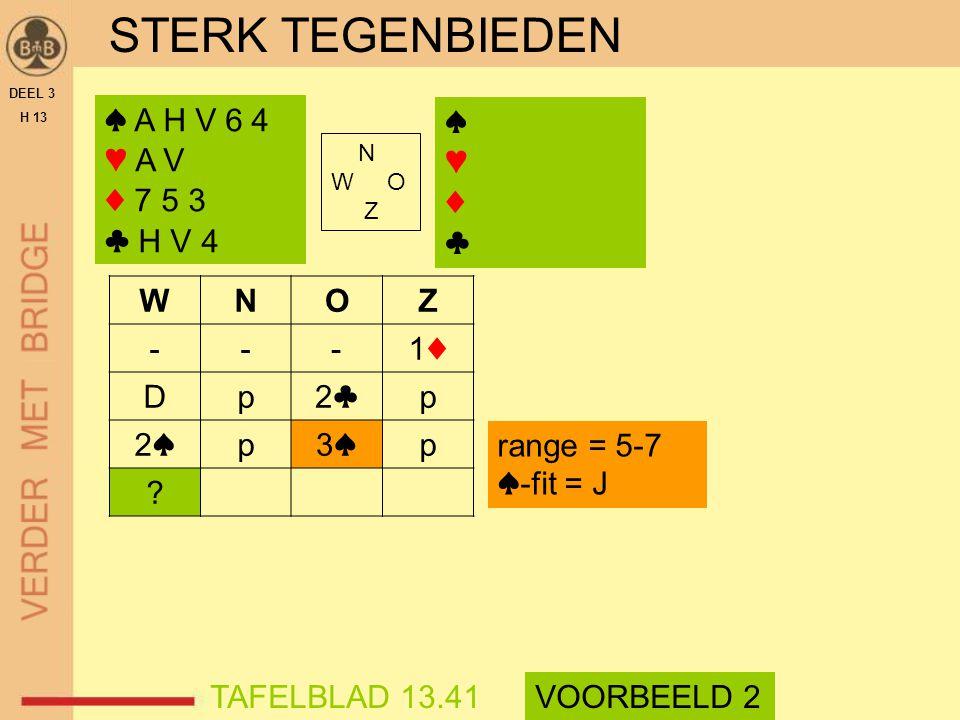STERK TEGENBIEDEN DEEL 3 H 13 ♠ A H V 6 4 ♥ A V ♦ 7 5 3 ♣ H V 4 N W O Z WNOZ ---1♦1♦ Dp2♣2♣p 2♠2♠p3♠3♠p ? TAFELBLAD 13.41VOORBEELD 2 range = 5-7 ♠-fit