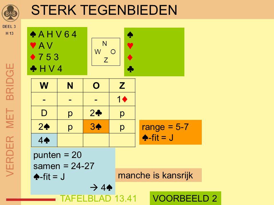 STERK TEGENBIEDEN DEEL 3 H 13 ♠ A H V 6 4 ♥ A V ♦ 7 5 3 ♣ H V 4 N W O Z WNOZ ---1♦1♦ Dp2♣2♣p 2♠2♠p3♠3♠p 4♠4♠ TAFELBLAD 13.41VOORBEELD 2 manche is kans