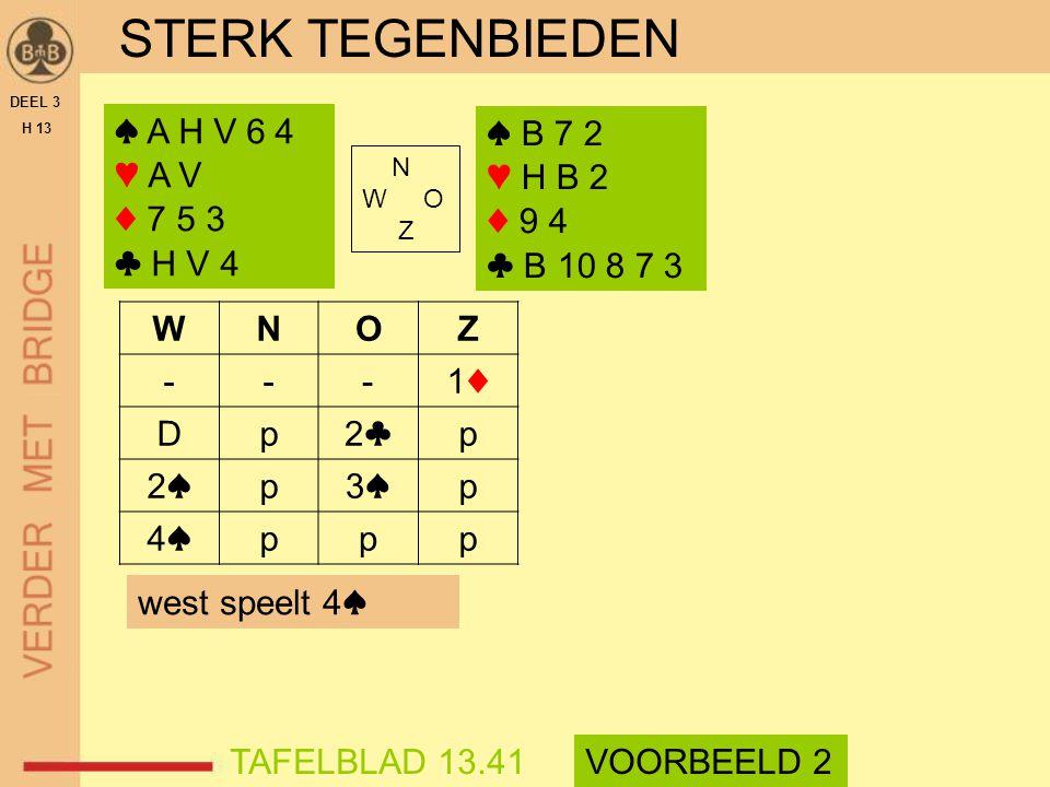 STERK TEGENBIEDEN DEEL 3 H 13 ♠ A H V 6 4 ♥ A V ♦ 7 5 3 ♣ H V 4 N W O Z WNOZ ---1♦1♦ Dp2♣2♣p 2♠2♠p3♠3♠p 4♠4♠ppp TAFELBLAD 13.41VOORBEELD 2 ♠ B 7 2 ♥ H