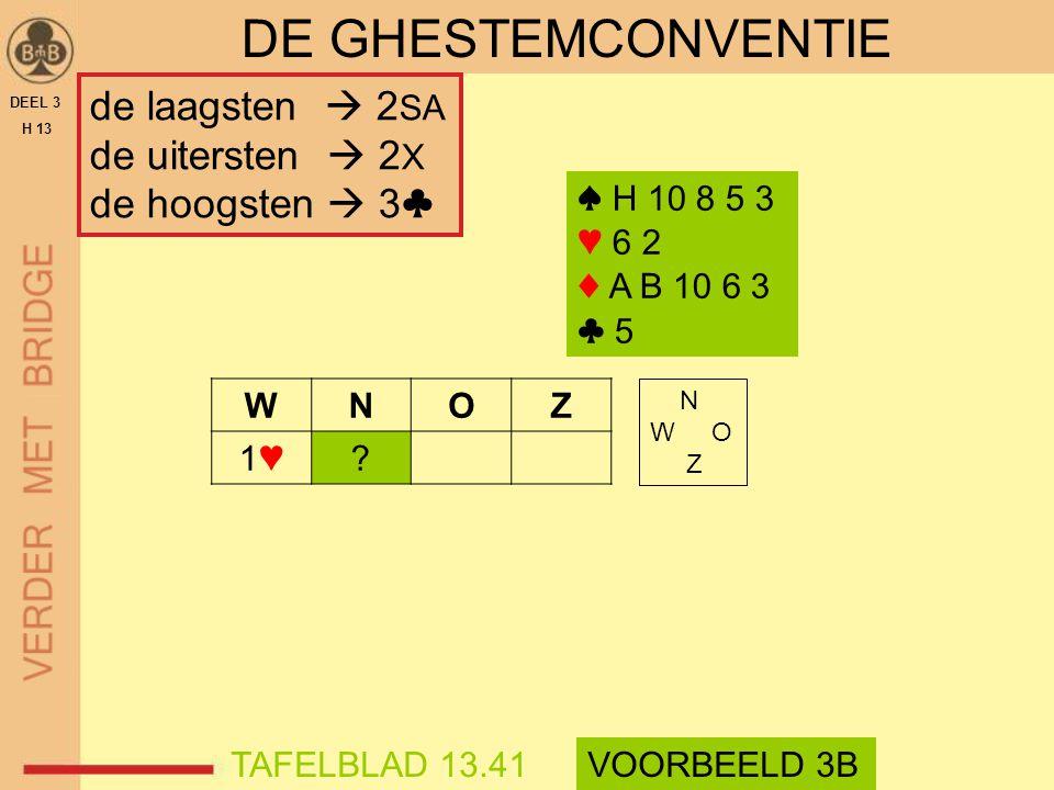 DEEL 3 H 13 DE GHESTEMCONVENTIE WNOZ 1♥1♥? ♠ H 10 8 5 3 ♥ 6 2 ♦ A B 10 6 3 ♣ 5 N W O Z TAFELBLAD 13.41VOORBEELD 3B de laagsten  2 SA de uitersten  2