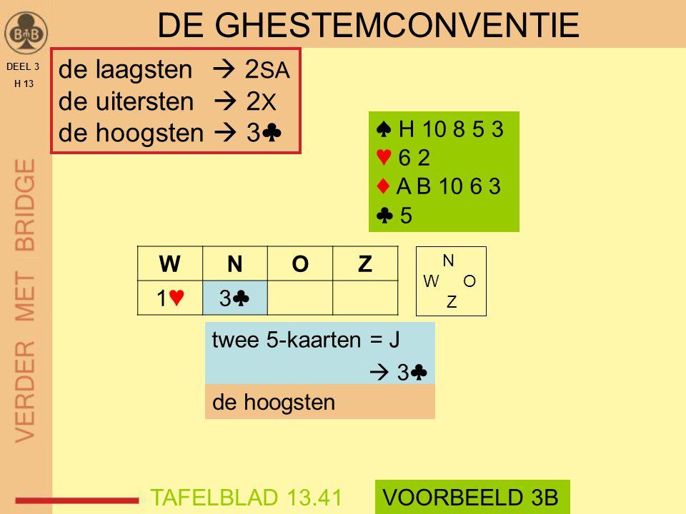 DEEL 3 H 13 DE GHESTEMCONVENTIE WNOZ 1♥1♥3♣3♣ N W O Z twee 5-kaarten = J  3♣ de hoogsten TAFELBLAD 13.41VOORBEELD 3B ♠ H 10 8 5 3 ♥ 6 2 ♦ A B 10 6 3