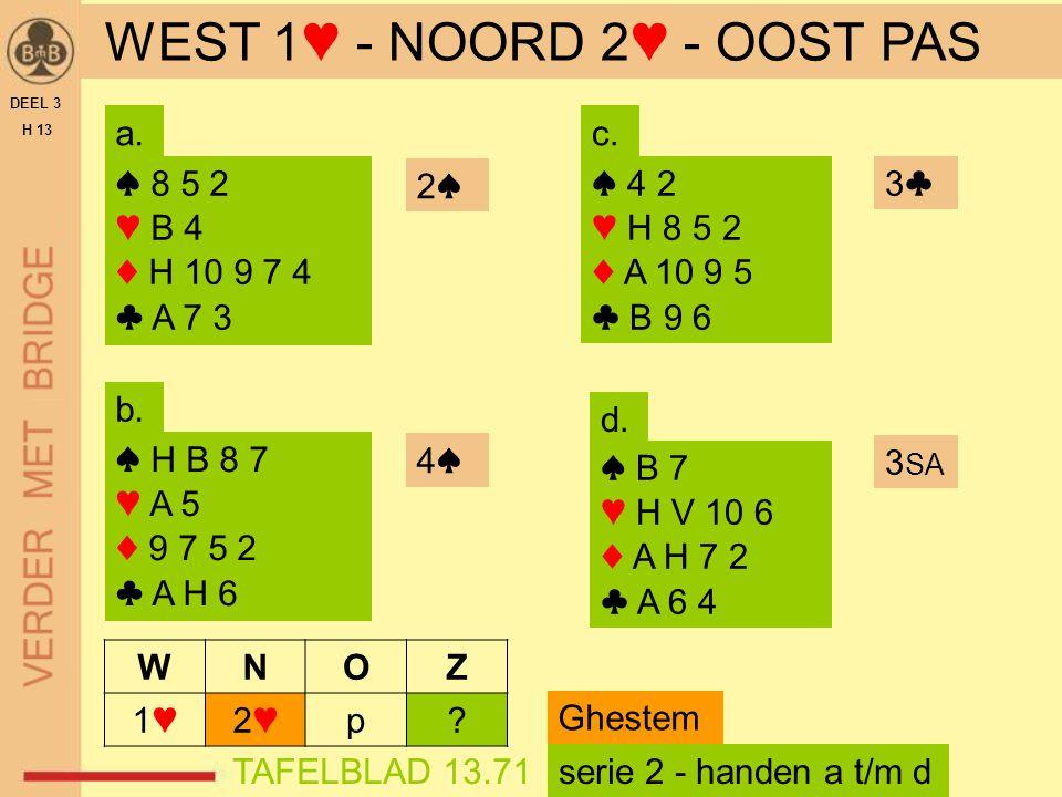 DEEL 3 H 13 TAFELBLAD 13.71 2♠2♠ ♠ 8 5 2 ♥ B 4 ♦ H 10 9 7 4 ♣ A 7 3 ♠ H B 8 7 ♥ A 5 ♦ 9 7 5 2 ♣ A H 6 WEST 1♥ - NOORD 2♥ - OOST PAS 4♠ a. b. c. d. ♠ 4