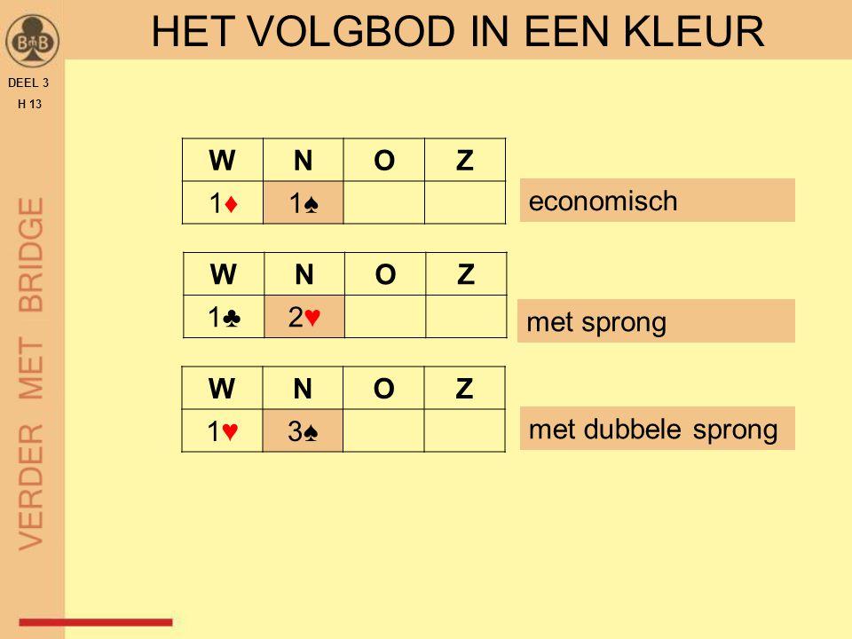 DEEL 3 H 13 HET VOLGBOD IN EEN KLEUR VOLGBOD - ECONOMISCH WNOZ 1♦1♦1♠1♠  de kleur is een behoorlijke 5-kaart  puntenrange = 6 - 15  houd rekening met de regel van 2 en 3  HOOFDSTUK 12