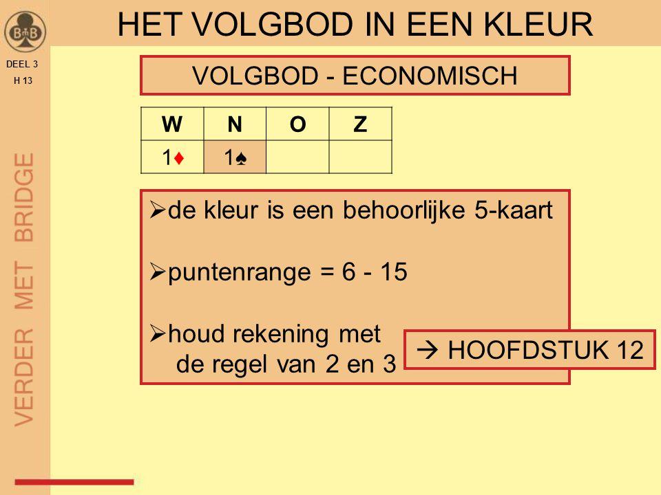 DEEL 3 H 13 HET VOLGBOD IN EEN KLEUR VOLGBOD - ECONOMISCH WNOZ 1♦1♦1♠1♠  de kleur is een behoorlijke 5-kaart  puntenrange = 6 - 15  houd rekening m