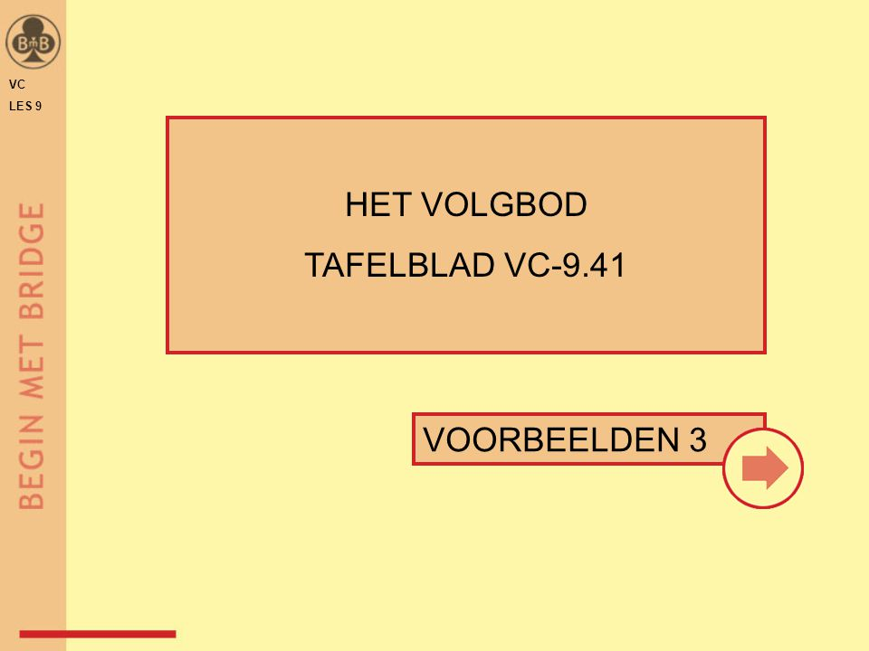VOORBEELDEN 3 HET VOLGBOD TAFELBLAD VC-9.41 VC LES 9