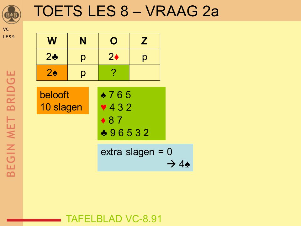 VC LES 9 TOETS LES 8 – VRAAG 2a TAFELBLAD VC-8.91 ♠ 7 6 5 ♥ 4 3 2 ♦ 8 7 ♣ 9 6 5 3 2 WNOZ 2♣2♣p2♦2♦p 2♠2♠p? extra slagen = 0  4♠ belooft 10 slagen