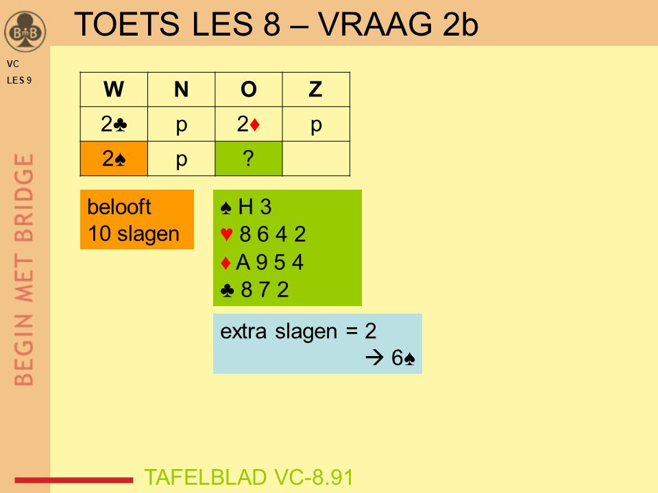 VC LES 9 TOETS LES 8 – VRAAG 2c TAFELBLAD VC-8.91 ♠ 8 6 ♥ V B 8 ♦ H 7 5 4 ♣ 8 7 5 2 extra slagen = 0 / 1  4♠ belooft 10 slagen WNOZ 2♣2♣p2♦2♦p 2♠2♠p?