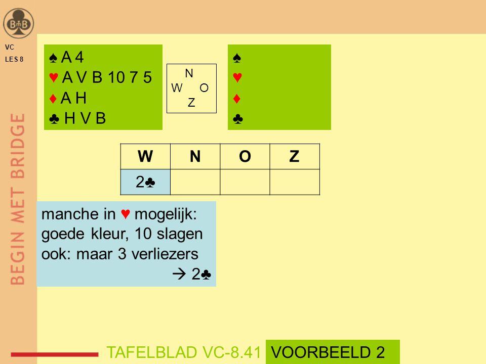 ♠ A 4 ♥ A V B 10 7 5 ♦ A H ♣ H V B ♠♥♦♣♠♥♦♣ N W O Z WNOZ 2♣ manche in ♥ mogelijk: goede kleur, 10 slagen ook: maar 3 verliezers  2♣ TAFELBLAD VC-8.41