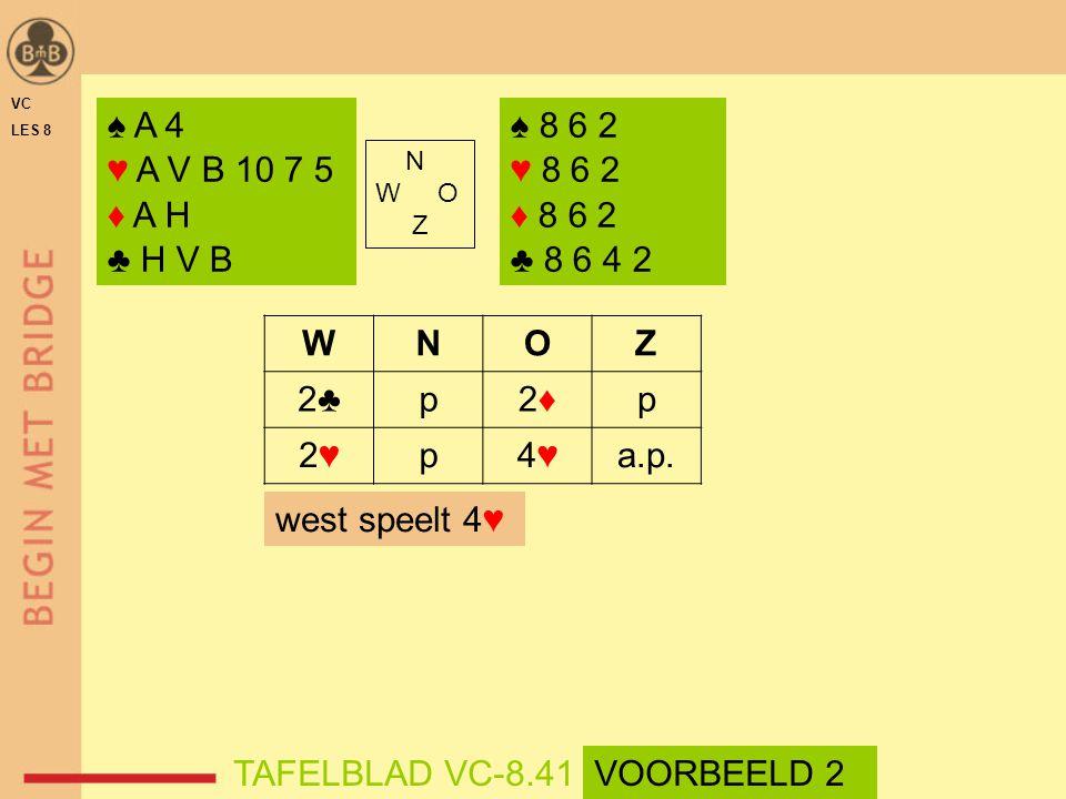 ♠ A 4 ♥ A V B 10 7 5 ♦ A H ♣ H V B ♠ 8 6 2 ♥ 8 6 2 ♦ 8 6 2 ♣ 8 6 4 2 N W O Z WNOZ 2♣p2♦2♦p 2♥2♥p4♥4♥a.p. west speelt 4♥ TAFELBLAD VC-8.41VOORBEELD 2 V