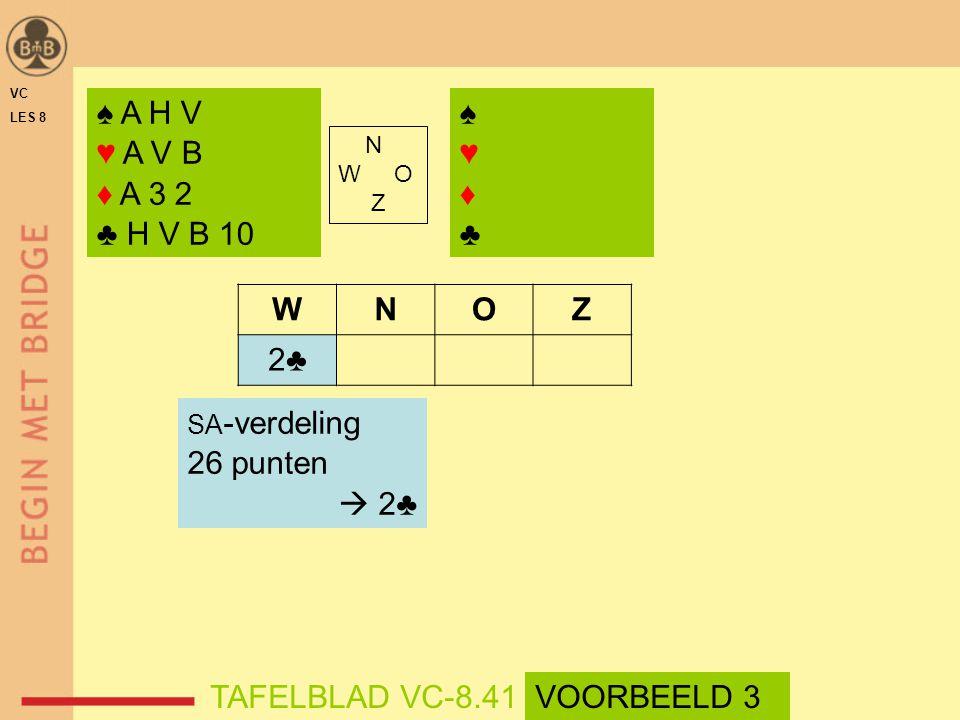 ♠ A H V ♥ A V B ♦ A 3 2 ♣ H V B 10 ♠♥♦♣♠♥♦♣ N W O Z WNOZ 2♣ SA -verdeling 26 punten  2♣ TAFELBLAD VC-8.41VOORBEELD 3 VC LES 8