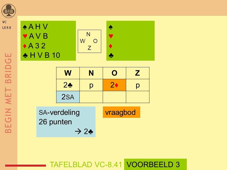 ♠ A H V ♥ A V B ♦ A 3 2 ♣ H V B 10 ♠♥♦♣♠♥♦♣ N W O Z WNOZ 2♣p2♦2♦p 2 SA vraagbod SA -verdeling 26 punten  2♣ TAFELBLAD VC-8.41VOORBEELD 3 VC LES 8