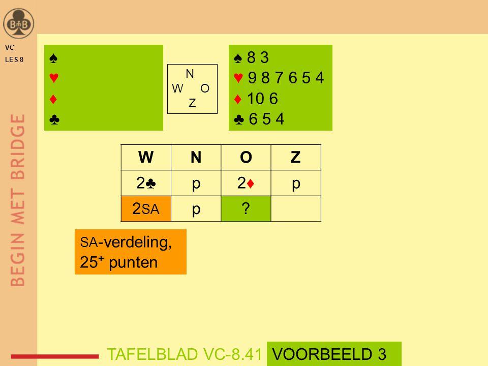 ♠ 8 3 ♥ 9 8 7 6 5 4 ♦ 10 6 ♣ 6 5 4 N W O Z WNOZ 2♣p2♦2♦p 2 SA p.