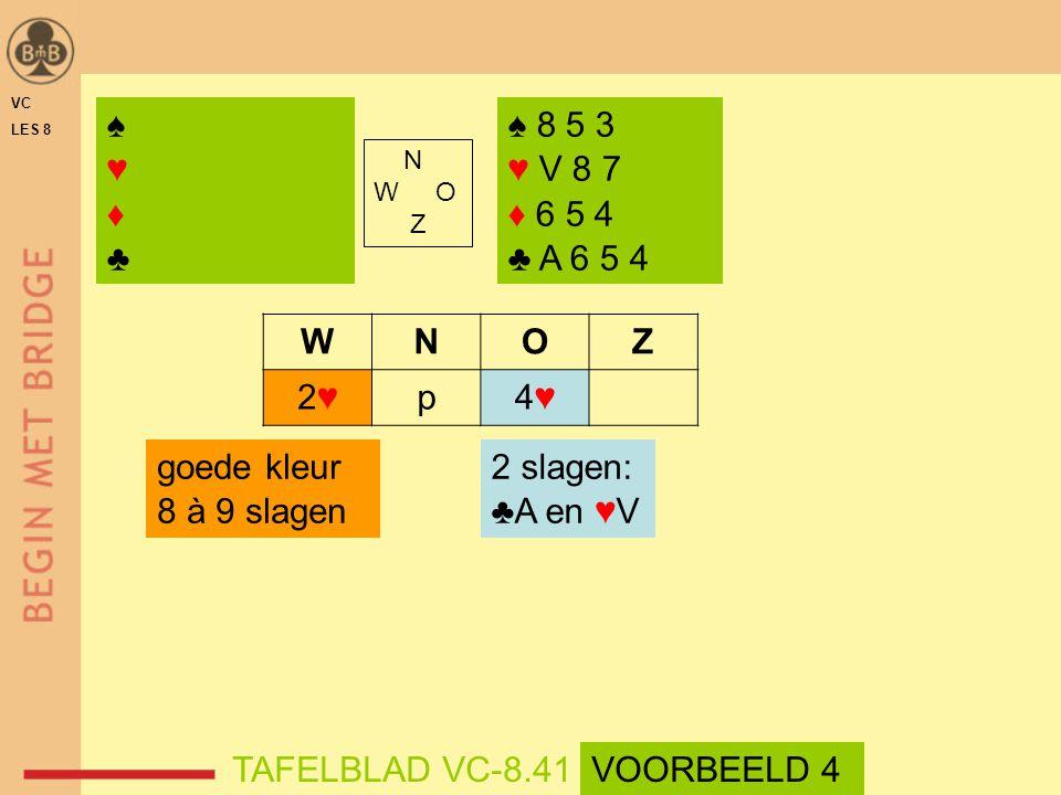N W O Z WNOZ 2♥2♥p4♥4♥ 2 slagen: ♣A en ♥V ♠♥♦♣♠♥♦♣ goede kleur 8 à 9 slagen ♠ 8 5 3 ♥ V 8 7 ♦ 6 5 4 ♣ A 6 5 4 TAFELBLAD VC-8.41 VC LES 8 VOORBEELD 4