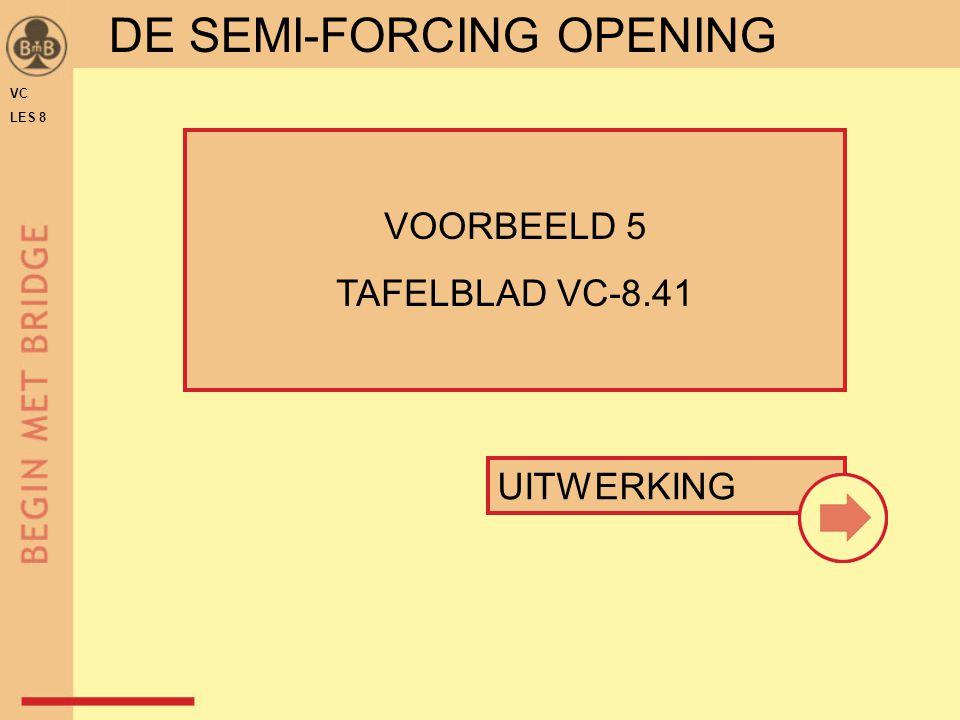 UITWERKING VOORBEELD 5 TAFELBLAD VC-8.41 DE SEMI-FORCING OPENING VC LES 8