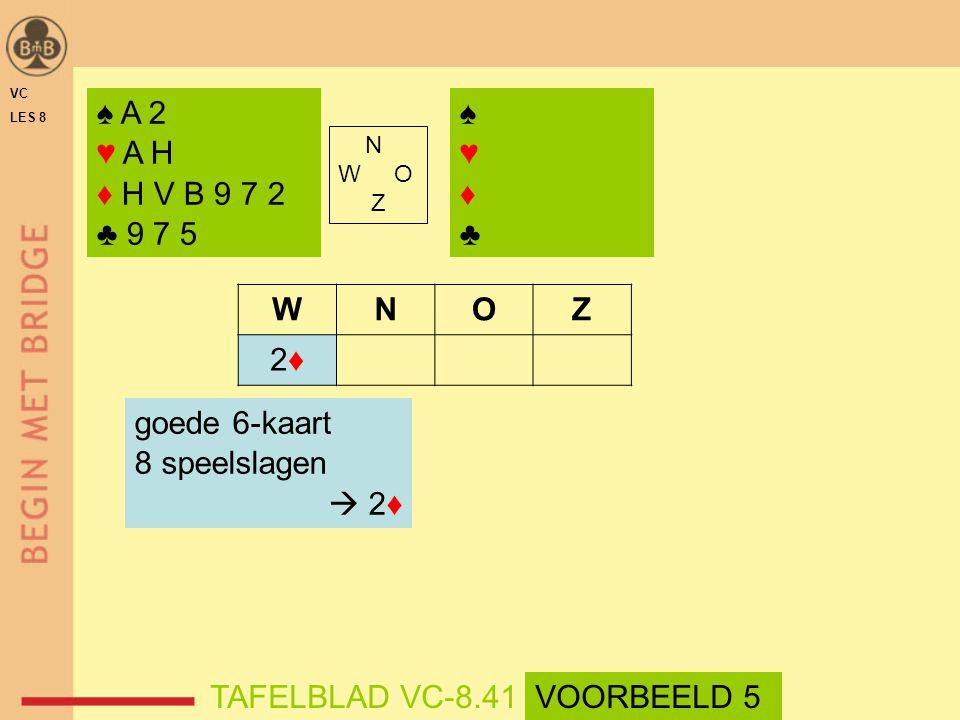 ♠♥♦♣♠♥♦♣ N W O Z WNOZ 2♦2♦ goede 6-kaart 8 speelslagen  2♦ ♠ A 2 ♥ A H ♦ H V B 9 7 2 ♣ 9 7 5 TAFELBLAD VC-8.41 VC LES 8 VOORBEELD 5