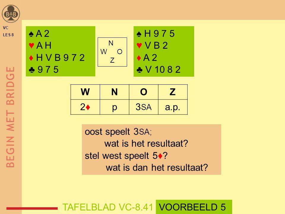 N W O Z WNOZ 2♦2♦p3 SA a.p. oost speelt 3 SA; wat is het resultaat? stel west speelt 5♦? wat is dan het resultaat? ♠ A 2 ♥ A H ♦ H V B 9 7 2 ♣ 9 7 5 ♠