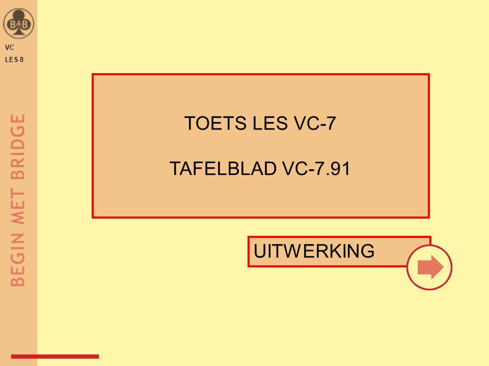 VC LES 8 ♥3♥3 ♠ A B 9 2 ♥ H B 7 6 3 ♦ 8 6 5 ♣ 4 ♠ 8 ♥ V B 10 9 ♦ H V B 9 ♣ H B 6 4 ♠ B 4 ♥ A V 7 4 2 ♦ 8 7 2 ♣ 10 6 5 uitkomst: ♦H♦H ♥2♥2 1a1b1c TOETS LES 7 – VRAAG 1 a t/m c TAFELBLAD VC-7.91 De tegenpartij biedt 1 SA - 3 SA.