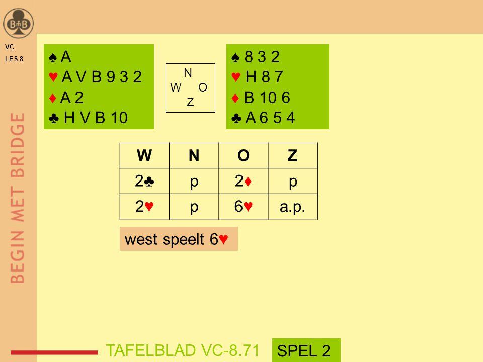♠ A ♥ A V B 9 3 2 ♦ A 2 ♣ H V B 10 ♠ 8 3 2 ♥ H 8 7 ♦ B 10 6 ♣ A 6 5 4 N W O Z WNOZ 2♣p2♦2♦p 2♥2♥p6♥6♥a.p.