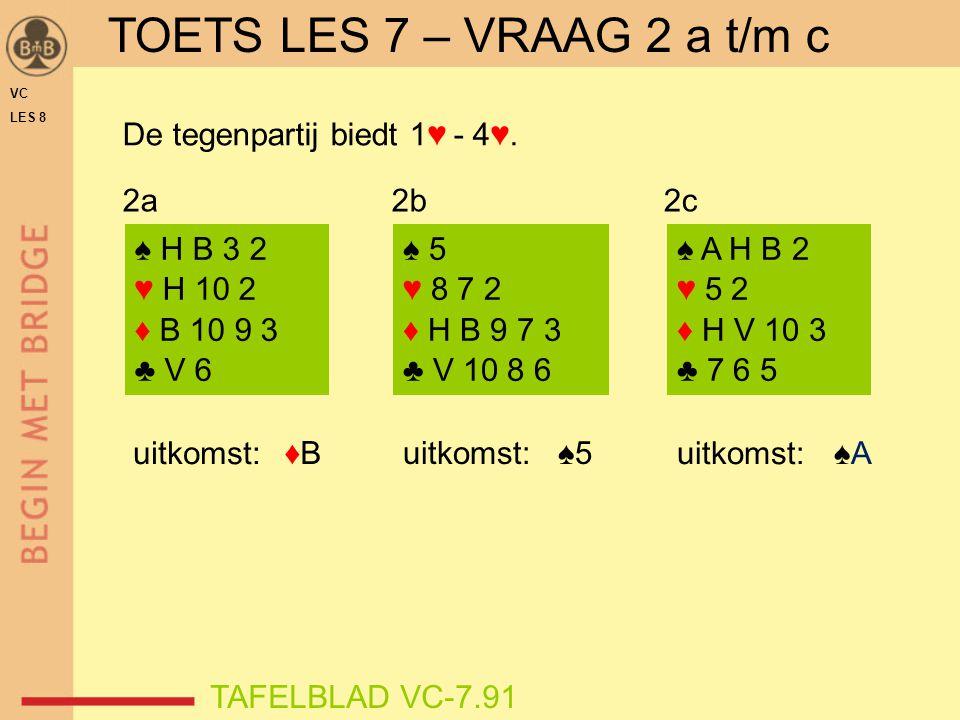 VC LES 8 ♦B♦B ♠ H B 3 2 ♥ H 10 2 ♦ B 10 9 3 ♣ V 6 ♠ 5 ♥ 8 7 2 ♦ H B 9 7 3 ♣ V 10 8 6 ♠ A H B 2 ♥ 5 2 ♦ H V 10 3 ♣ 7 6 5 uitkomst: ♠5 uitkomst:♠A♠A 2a2b2c TOETS LES 7 – VRAAG 2 a t/m c TAFELBLAD VC-7.91 De tegenpartij biedt 1♥ - 4♥.