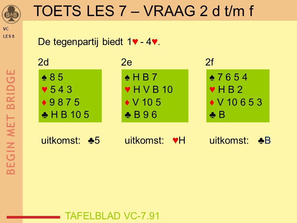 VC LES 8 ♣5 ♠ 8 5 ♥ 5 4 3 ♦ 9 8 7 5 ♣ H B 10 5 ♠ H B 7 ♥ H V B 10 ♦ V 10 5 ♣ B 9 6 ♠ 7 6 5 4 ♥ H B 2 ♦ V 10 6 5 3 ♣ B uitkomst: ♥H♥H ♣B♣B 2d2e2f TOETS LES 7 – VRAAG 2 d t/m f TAFELBLAD VC-7.91 De tegenpartij biedt 1♥ - 4♥.