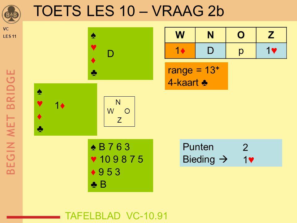 VC LES 11 ♠♥♦♣♠♥♦♣ WNOZ 1♦1♦ ♠♥♦♣♠♥♦♣ Punten Bieding  range = 13 + 4-kaart ♣ TAFELBLAD VC-10.91 Dp 1♦1♦ ? 2 1♥1♥ D ♠ B 7 6 3 ♥ 10 9 8 7 5 ♦ 9 5 3 ♣ B