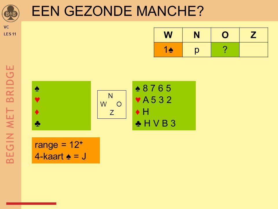 VC LES 11 ♠♥♦♣♠♥♦♣ ♠ 8 7 6 5 ♥ A 5 3 2 ♦ H ♣ H V B 3 N W O Z WNOZ 1♠1♠p? EEN GEZONDE MANCHE? range = 12 + 4-kaart ♠ = J