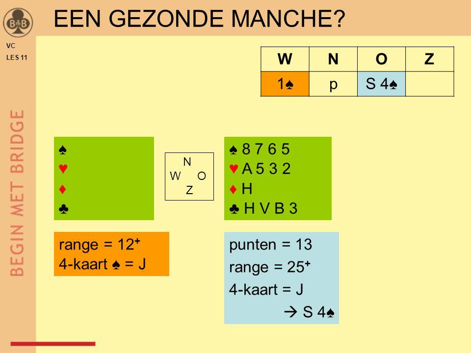 VC LES 11 ♠♥♦♣♠♥♦♣ ♠ 8 7 6 5 ♥ A 5 3 2 ♦ H ♣ H V B 3 N W O Z WNOZ 1♠1♠pS 4♠ EEN GEZONDE MANCHE? range = 12 + 4-kaart ♠ = J punten = 13 range = 25 + 4-