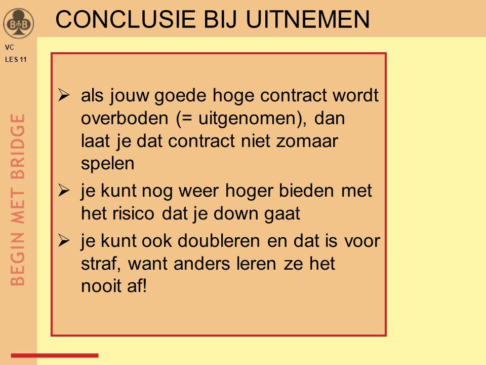 CONCLUSIE BIJ UITNEMEN VC LES 11  als jouw goede hoge contract wordt overboden (= uitgenomen), dan laat je dat contract niet zomaar spelen  je kunt