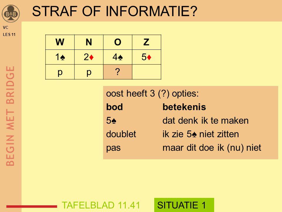 oost heeft 3 (?) opties: bodbetekenis 5♠dat denk ik te maken doubletik zie 5♠ niet zitten pasmaar dit doe ik (nu) niet STRAF OF INFORMATIE? WNOZ 1♠1♠2