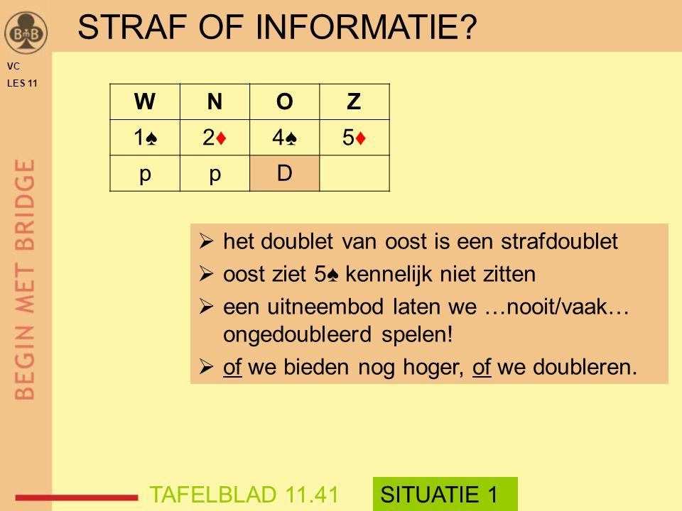 STRAF OF INFORMATIE? WNOZ 1♠1♠2♦2♦4♠4♠5♦5♦ ppD VC LES 11  het doublet van oost is een strafdoublet  oost ziet 5♠ kennelijk niet zitten  een uitneem