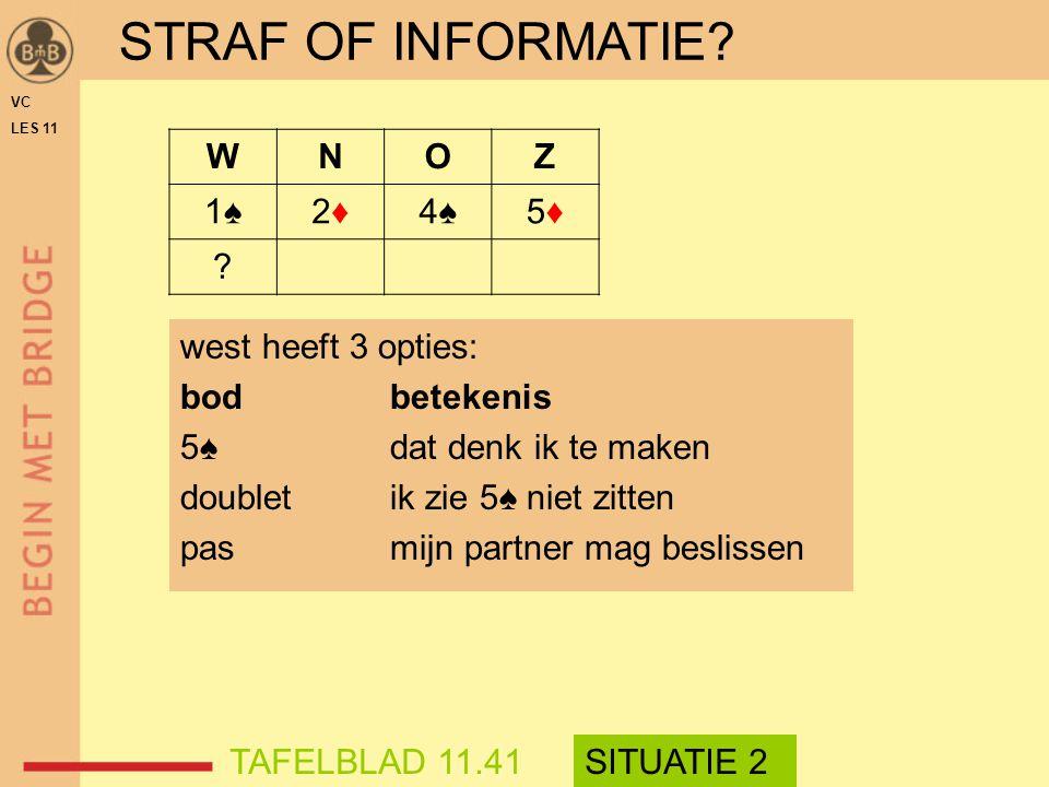 west heeft 3 opties: bodbetekenis 5♠dat denk ik te maken doubletik zie 5♠ niet zitten pasmijn partner mag beslissen STRAF OF INFORMATIE? WNOZ 1♠1♠2♦2♦