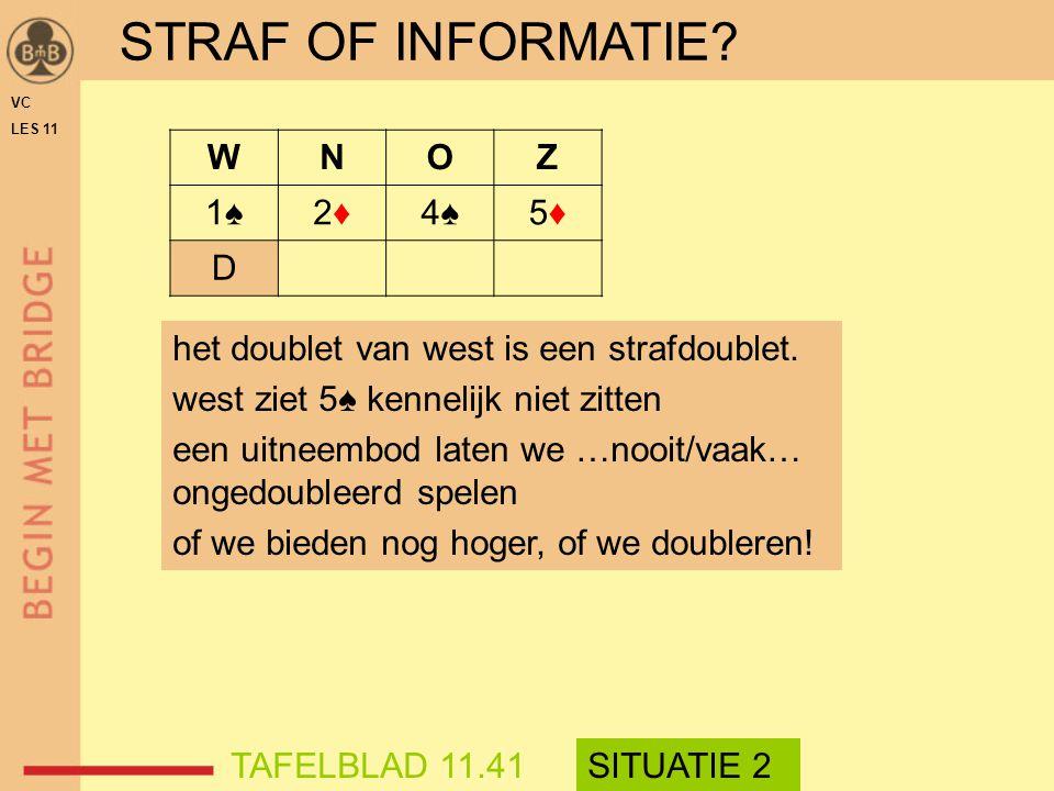 STRAF OF INFORMATIE? WNOZ 1♠1♠2♦2♦4♠4♠5♦5♦ D VC LES 11 het doublet van west is een strafdoublet. west ziet 5♠ kennelijk niet zitten een uitneembod lat