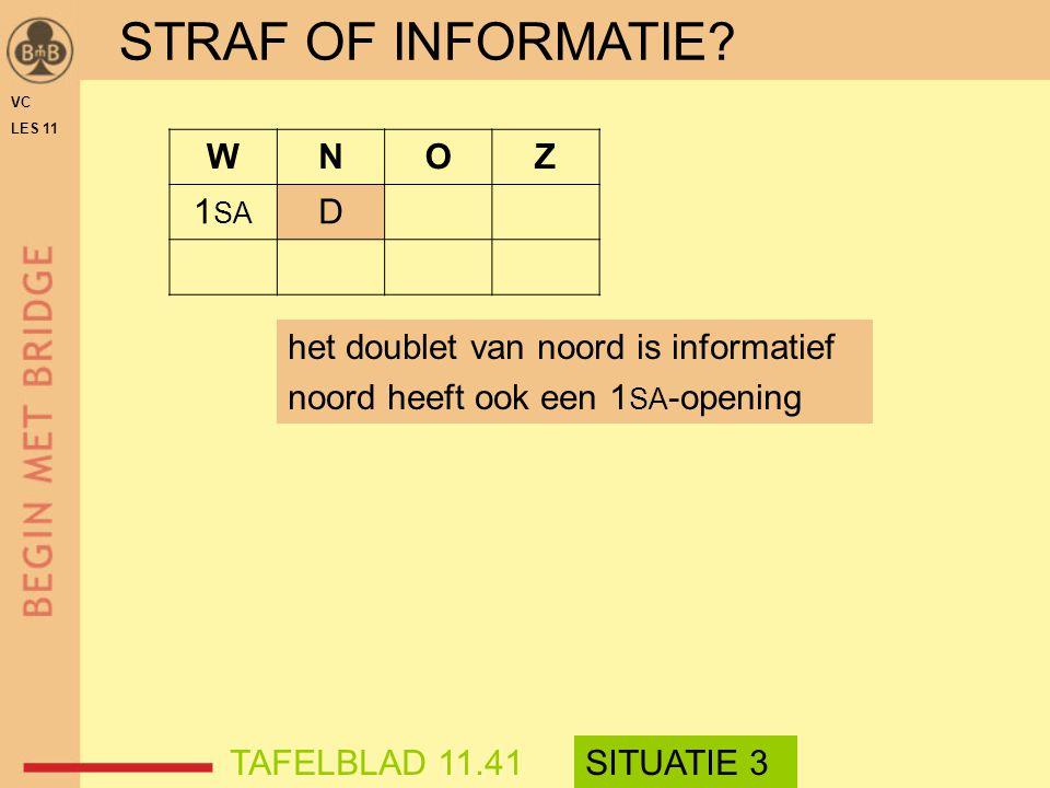 STRAF OF INFORMATIE? WNOZ 1 SA D VC LES 11 het doublet van noord is informatief noord heeft ook een 1 SA -opening TAFELBLAD 11.41SITUATIE 3