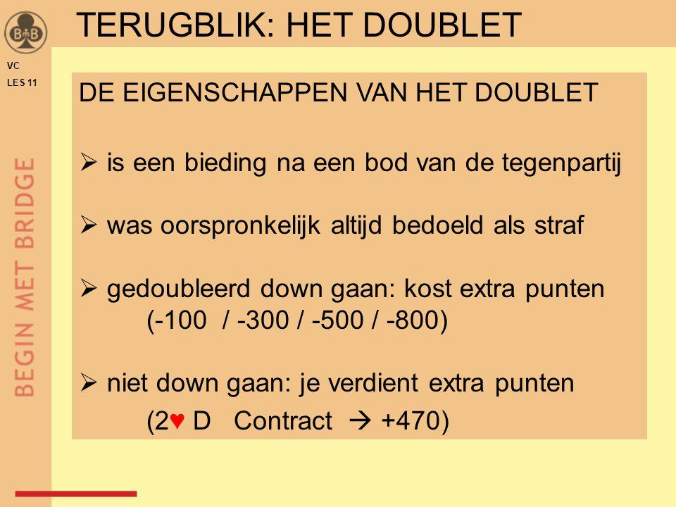 VC LES 11 WNOZ 1♦1♦D EEN DOUBLET OP 1 IN EEN KLEUR: [1x] - D  als (straf)doublet is dit niet zo zinvol  is informatief bedoeld  wordt daarom informatiedoublet genoemd TERUGBLIK