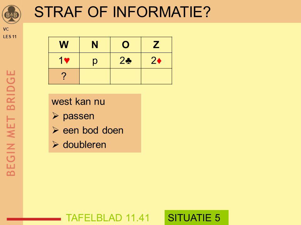 STRAF OF INFORMATIE? WNOZ 1♥1♥p2♣2♣2♦2♦ ? VC LES 11 west kan nu  passen  een bod doen  doubleren TAFELBLAD 11.41SITUATIE 5